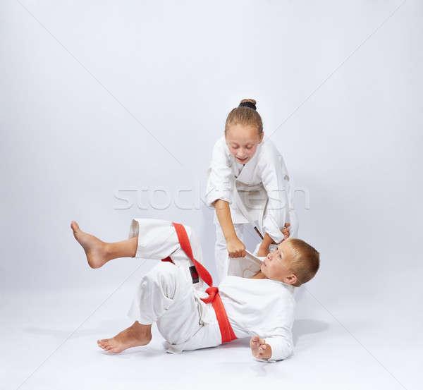 Kız atlet judo çocuklar erkek Stok fotoğraf © Andreyfire