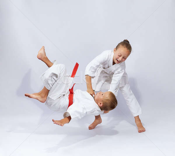 Judo throw in perfoming young athletes Stock photo © Andreyfire