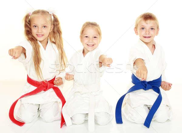 Jeunes enfants s'asseoir cérémonial kimono Photo stock © Andreyfire