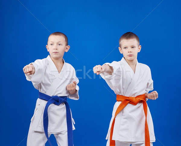 With orange and blue belts sportsmens are beating punch hand Stock photo © Andreyfire