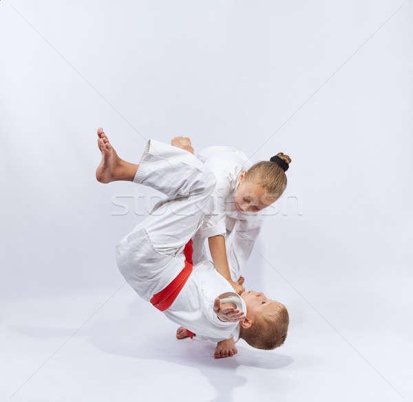 Nina blanco cinturón judo ninos nino Foto stock © Andreyfire