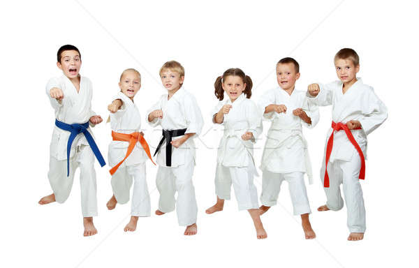 Young children in kimono perform techniques karate on a white background Stock photo © Andreyfire