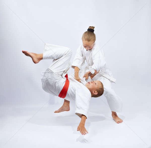 Gyerekek képzés biztonság fiú siker karate Stock fotó © Andreyfire