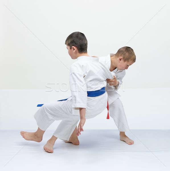 Kırmızı kemer atlet mavi çocuklar Stok fotoğraf © Andreyfire