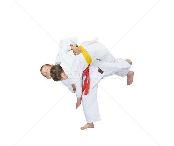 Erkek kırmızı kemer yüksek judo çocuklar Stok fotoğraf © Andreyfire