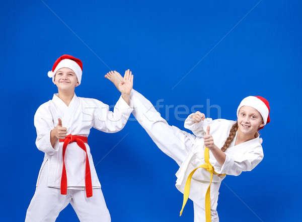 Jeunes athlètes faire sauter doigt super fille Photo stock © Andreyfire