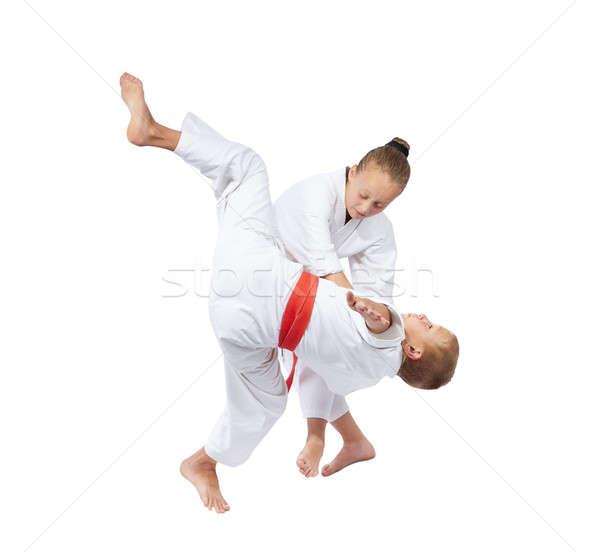 Blanco cinturón judo ninos seguridad Foto stock © Andreyfire