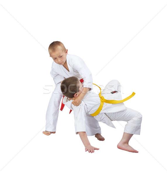 Kettő sportolók dzsúdó gyerekek sport egészség Stock fotó © Andreyfire