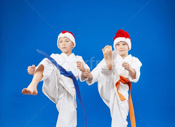 Blow leg beats two  athletes in karategi Stock photo © Andreyfire