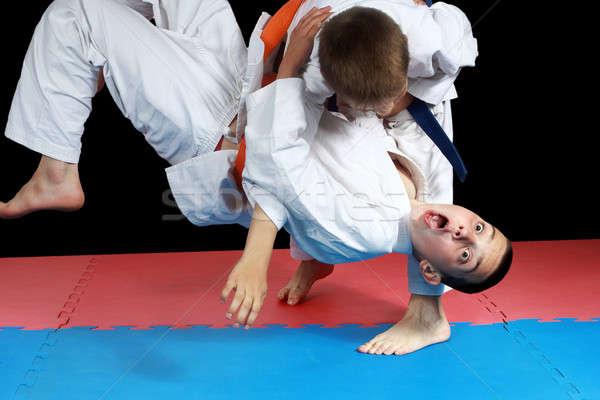 Piros kék sportolók siker biztonság stílus Stock fotó © Andreyfire