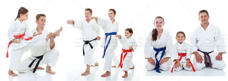 Család karate sportolók fehér kollázs gyerekek Stock fotó © Andreyfire
