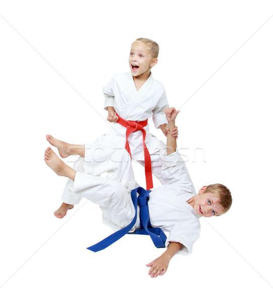 Meisje jongen witte geïsoleerd kinderen sport Stockfoto © Andreyfire