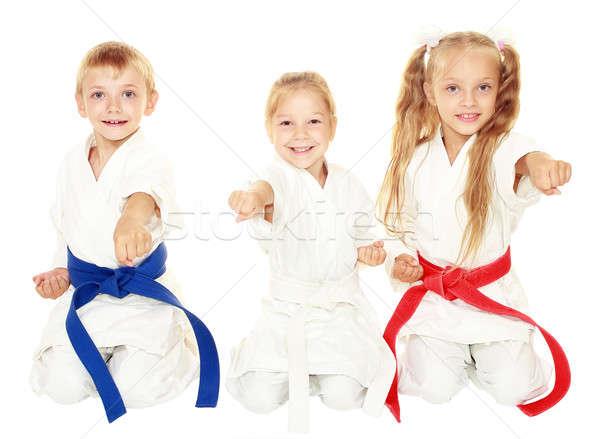Jeunes enfants kimono s'asseoir cérémonial Photo stock © Andreyfire