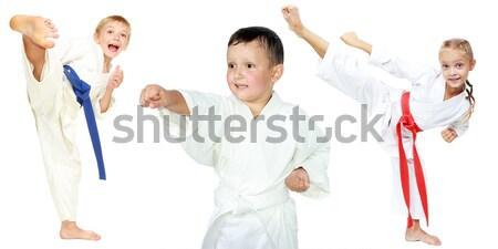 Jongen kimono slaan kick been gezondheid Stockfoto © Andreyfire