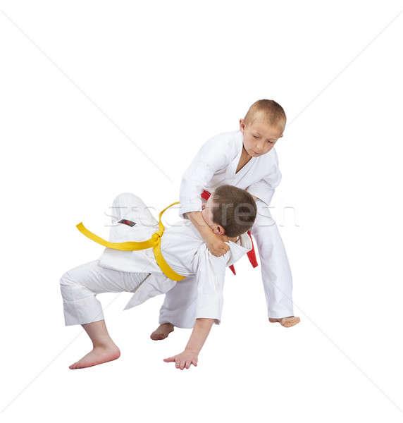 Judo atlet kırmızı kemer spor sağlık Stok fotoğraf © Andreyfire