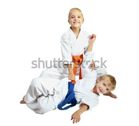 Vrolijk broer zus leren sport gezondheid Stockfoto © Andreyfire