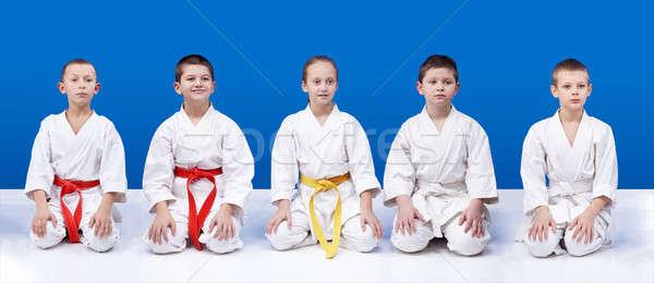 Vijf karate zitten posities meisje Stockfoto © Andreyfire