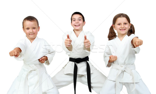 Young children express delight of karate lessons Stock photo © Andreyfire