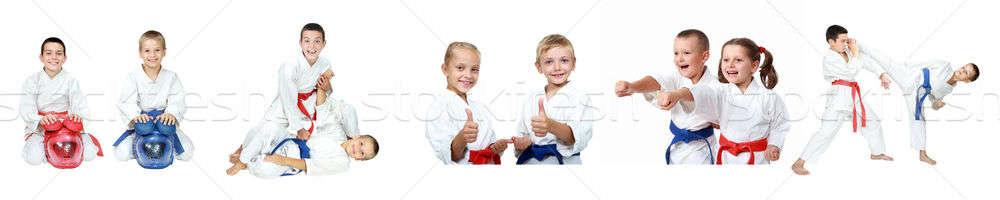 çocuklar resepsiyon kolaj çocuklar spor Stok fotoğraf © Andreyfire
