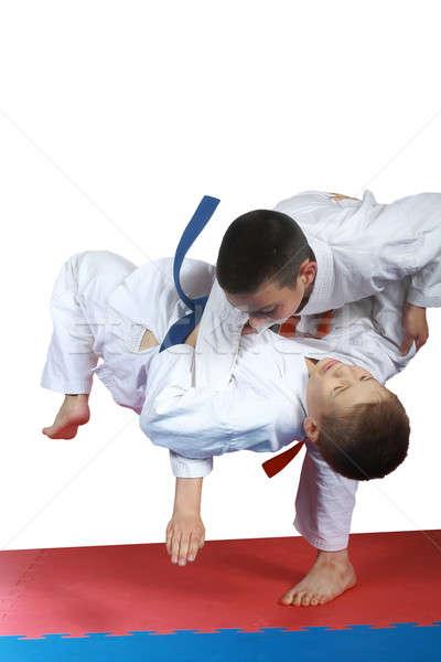 Erkek turuncu kemer judo sağlık spor Stok fotoğraf © Andreyfire