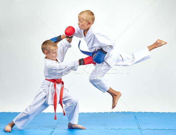 Atleet Blauw gordel springen kinderen gezondheid Stockfoto © Andreyfire