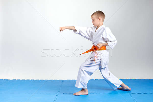 Sportsman in rack karate beats gyaku-tsuki Stock photo © Andreyfire