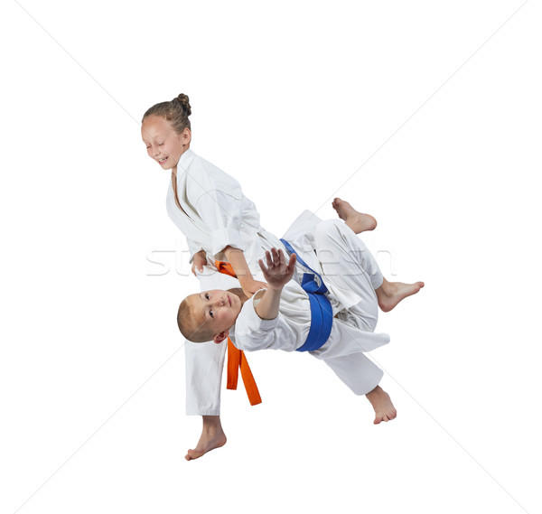 Orange ceinture fille judo enfants garçon Photo stock © Andreyfire