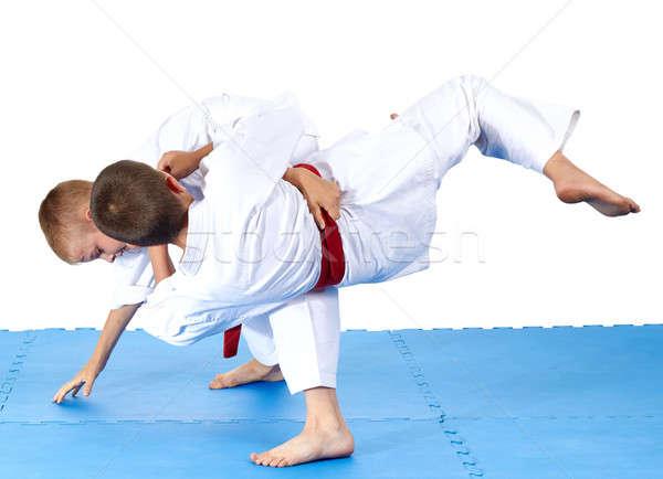 Iki eğitim judo çocuklar güvenlik başarı Stok fotoğraf © Andreyfire