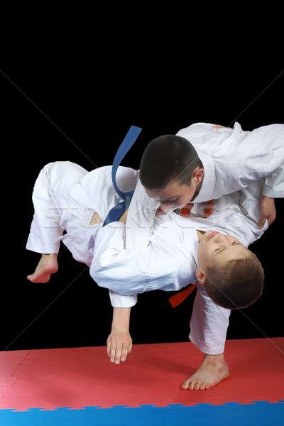 Fekete kettő sportolók siker biztonság stílus Stock fotó © Andreyfire