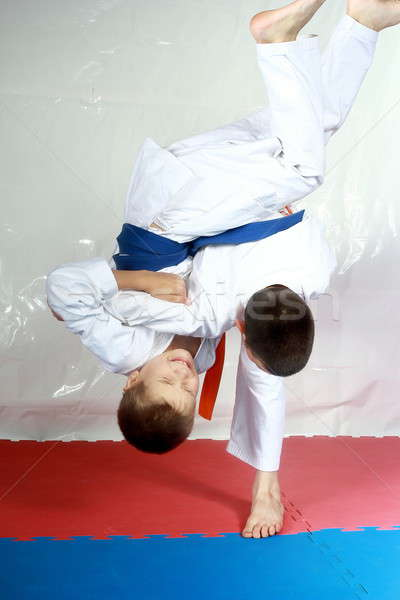 High throws are training two athletes in judogi Stock photo © Andreyfire