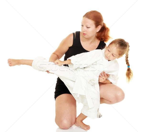 Moeder dochter kimono karate kick familie Stockfoto © Andreyfire