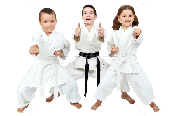 On a white background little children express the delight of karate lessons Stock photo © Andreyfire