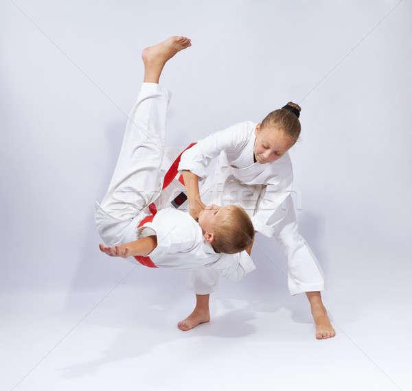 Twee opleiding kinderen jongen succes Stockfoto © Andreyfire