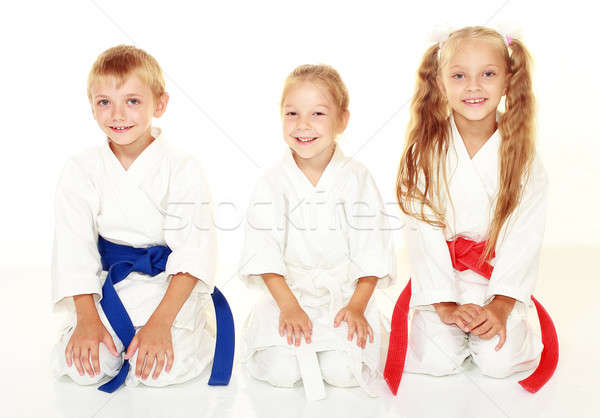 Cheerful young athletes in kimono sitting in a karate pose ritual Stock photo © Andreyfire