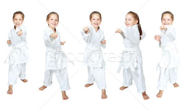Collage a little girl in karatege beats punch arm Stock photo © Andreyfire