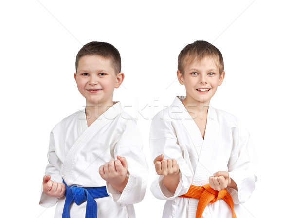 In karategi two athletes doing karate technique Stock photo © Andreyfire