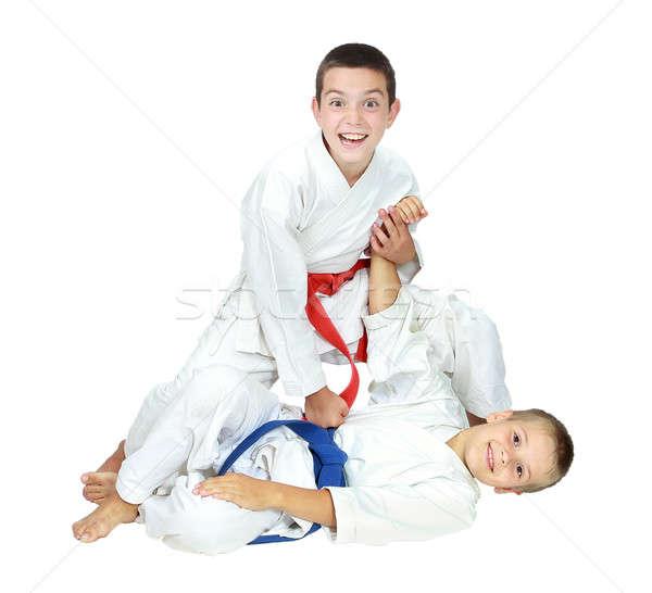 Twee vrolijk atleet jongen slaan Stockfoto © Andreyfire