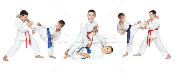 Iki erkek göstermek kolaj çocuklar sağlık Stok fotoğraf © Andreyfire