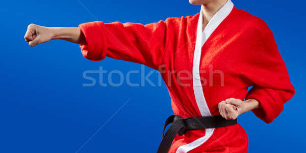 Sportswoman dressed as Santa Claus hits a punch hand Stock photo © Andreyfire