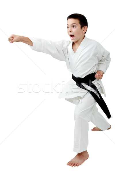 In rack of karate boy with a black belt beat a punch arm Stock photo © Andreyfire