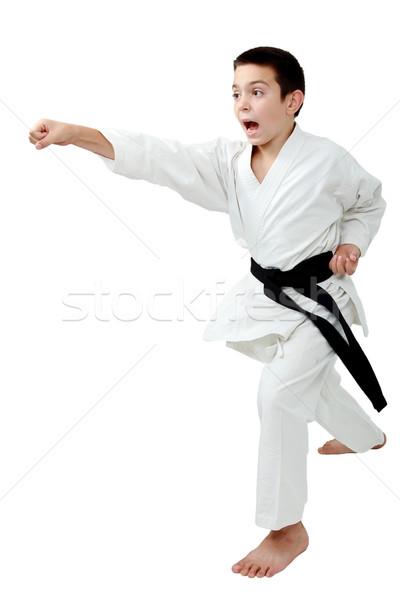 Cremalheira karatê menino preto cinto bater Foto stock © Andreyfire