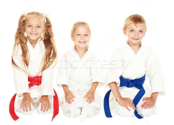 Alegre jovem crianças sentar-se cerimonial quimono Foto stock © Andreyfire