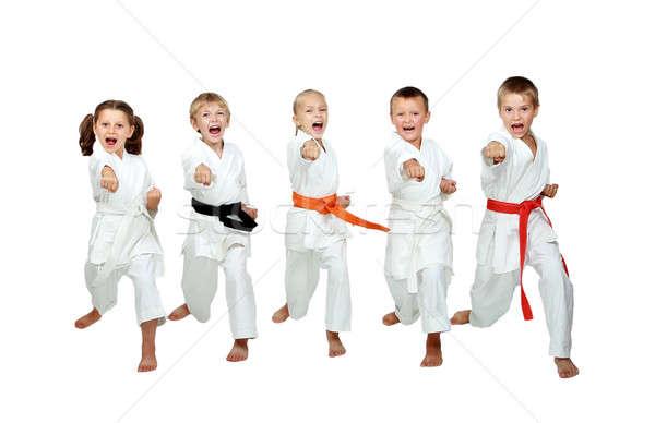 Kimono weinig kinderen slaan karate kick Stockfoto © Andreyfire