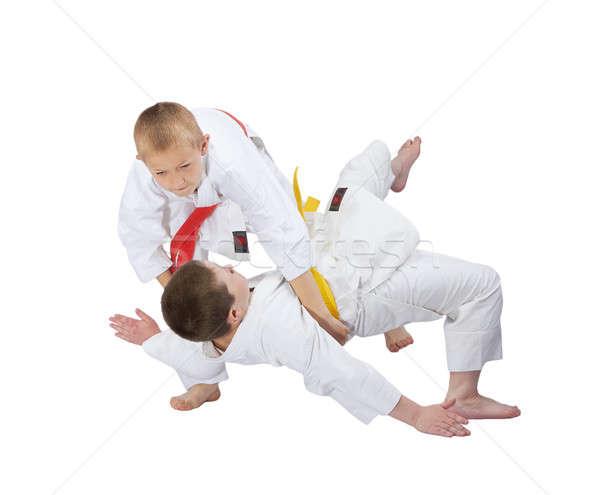 Iki erkek eğitim judo güvenlik başarı Stok fotoğraf © Andreyfire