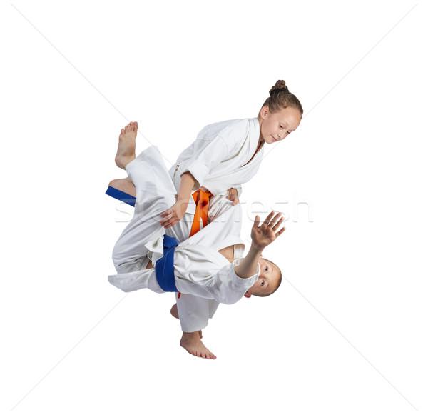 Kız judo çocuklar erkek başarı stil Stok fotoğraf © Andreyfire