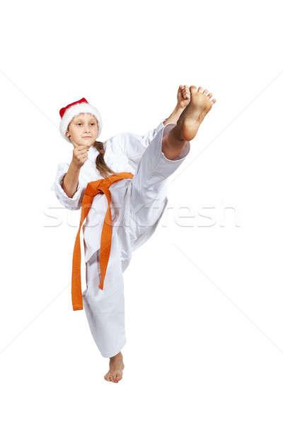 Sapka mikulás lány rúgás láb egészség Stock fotó © Andreyfire