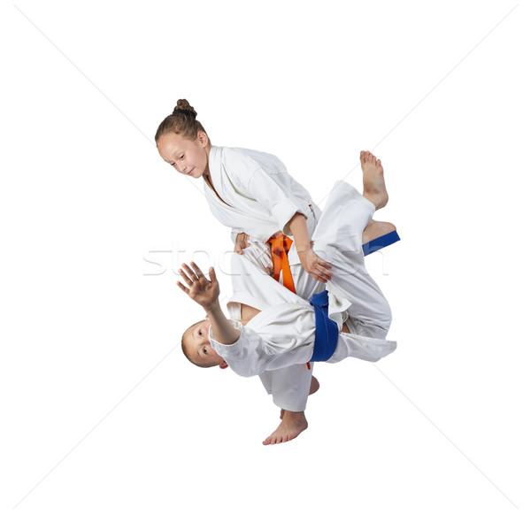 Ninos atletas tren judo ninas éxito Foto stock © Andreyfire