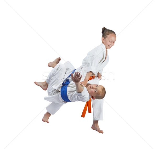 Dos atletas tren judo ninos deportes Foto stock © Andreyfire