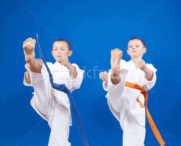 Blows legs the athletes beats in karategi Stock photo © Andreyfire