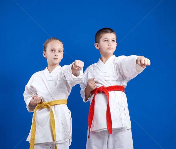 Children in karategi are beating punch hand Stock photo © Andreyfire